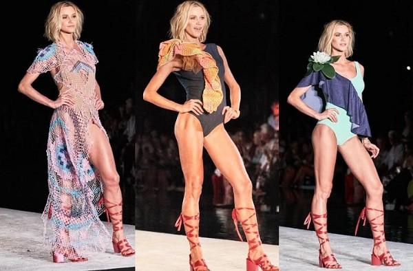 Três momentos de Renata desfilando os modelitos da nova coleção da estilista Silvia Ulson (Foto: Wilson Araújo)