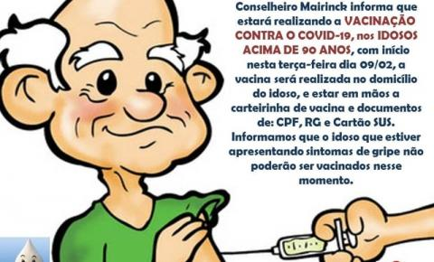 Conselheiro Mairinck começa campanha para vacinar os idosos contra a Covid-19